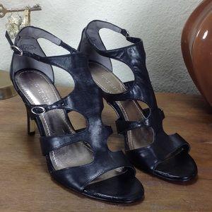 Nine West Black Leather Gladiator Stiletto Sandal